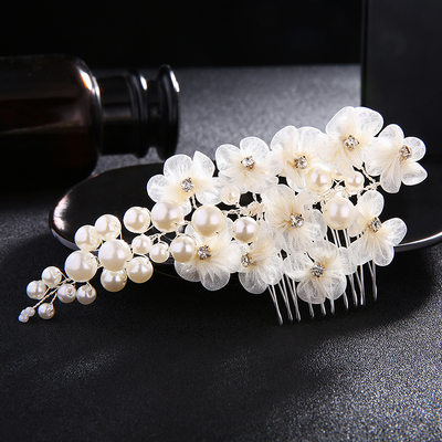 Elegant Imitation Pearls/Silk Flower Combs & Barrettes (Sold in single piece)