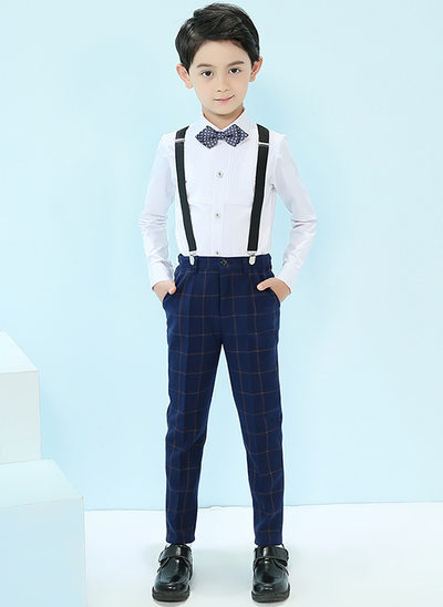Boys 4 Pieces Elegant Ring Bearer Suits /Page Boy Suits With Shirt Pants Bow Tie Suspender