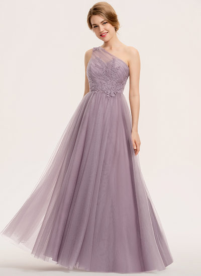A-Line One-Shoulder Floor-Length Tulle Lace Bridesmaid Dress With Ruffle