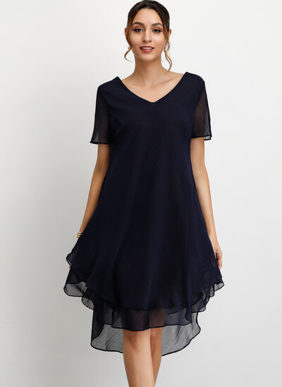 A-Line V-neck Asymmetrical Polyester Cocktail Dress