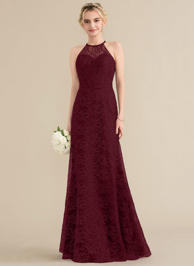 A-Line/Princess Scoop Neck Floor-Length Lace Bridesmaid Dress