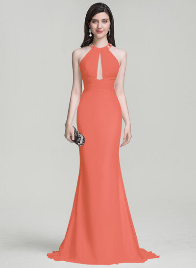 Trumpet/Mermaid Scoop Neck Sweep Train Chiffon Evening Dress With Ruffle Beading