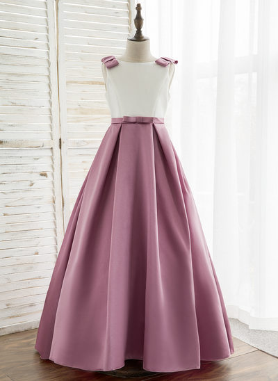 A-Line/Princess Sweep Train Flower Girl Dress - Satin Sleeveless Scoop Neck With V Back