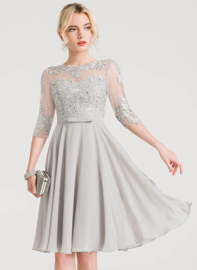 A-Line/Princess Scoop Neck Knee-Length Chiffon Cocktail Dress With Beading Bow(s)