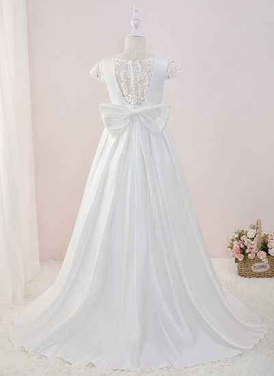 Ball-Gown/Princess Sweep Train Flower Girl Dress - Satin/Lace Short Sleeves Scoop Neck With Beading/Sequins/Bow(s)