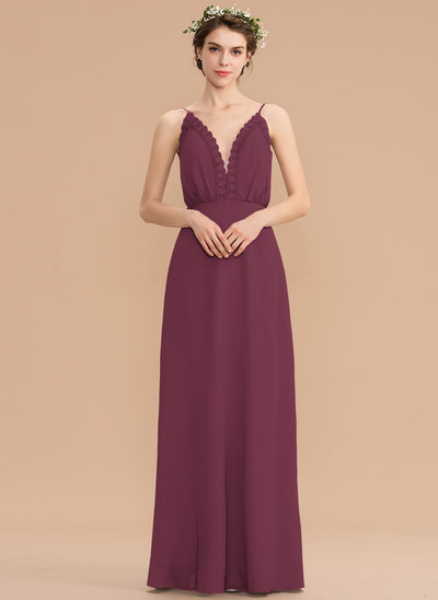 A-Line V-neck Floor-Length Chiffon Bridesmaid Dress With Lace