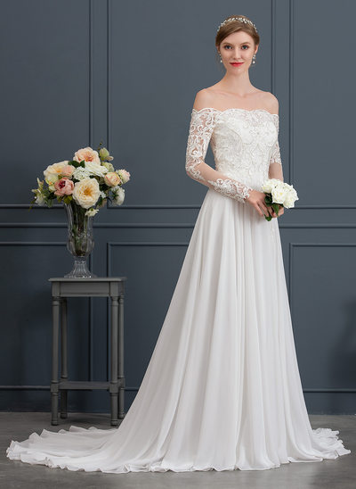 A-Line/Princess Off-the-Shoulder Court Train Chiffon Wedding Dress With Beading Sequins Split Front