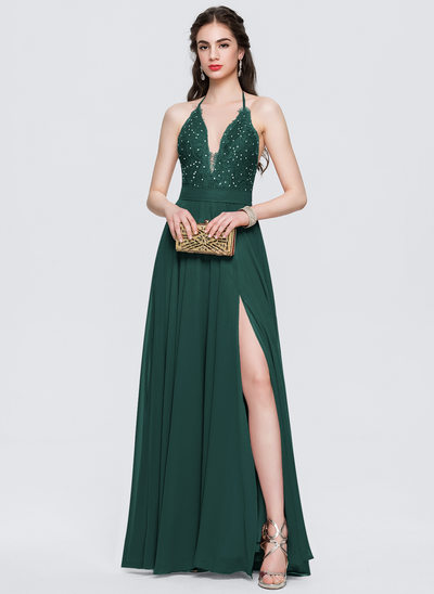 A-Line Halter Floor-Length Chiffon Prom Dresses With Split Front