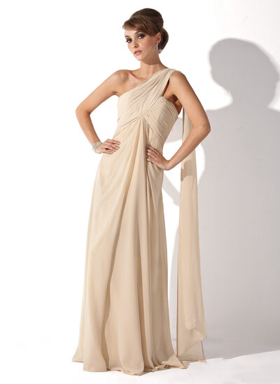 Empire One-Shoulder Floor-Length Chiffon Mother of the Bride Dress With Ruffle