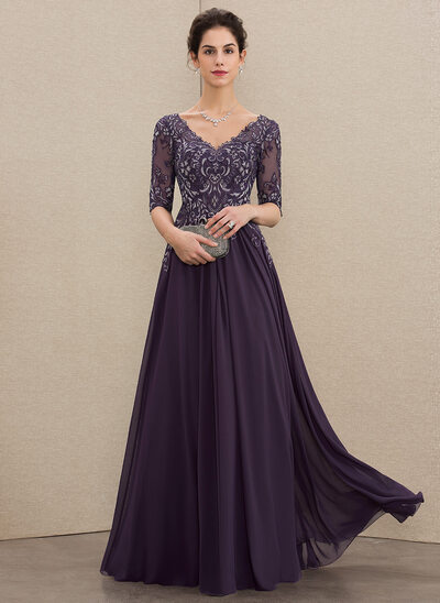 5a4361407d A-Line V-neck Floor-Length Chiffon Lace Mother of the Bride Dress New