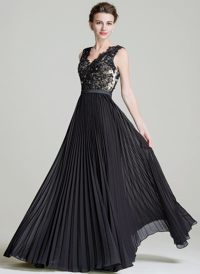 A-Line/Princess V-neck Floor-Length Chiffon Evening Dress With Sequins Pleated