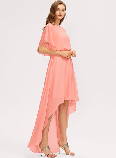 A-Line Scoop Neck Asymmetrical Chiffon Evening Dress