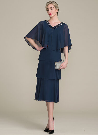 A-Line/Princess V-neck Tea-Length Chiffon Cocktail Dress With Cascading Ruffles