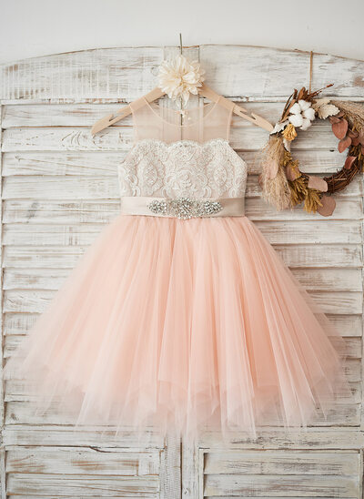 A-Line/Princess Knee-length Flower Girl Dress - Satin/Tulle/Lace Sleeveless Scoop Neck With Beading (Undetachable sash)