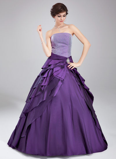 Ball-Gown Strapless Floor-Length Taffeta Quinceanera Dress With Crystal Brooch Cascading Ruffles