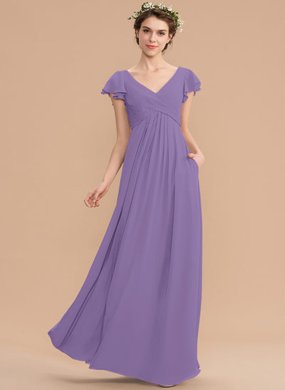 A-Line V-neck Floor-Length Chiffon Bridesmaid Dress With Cascading Ruffles Pockets