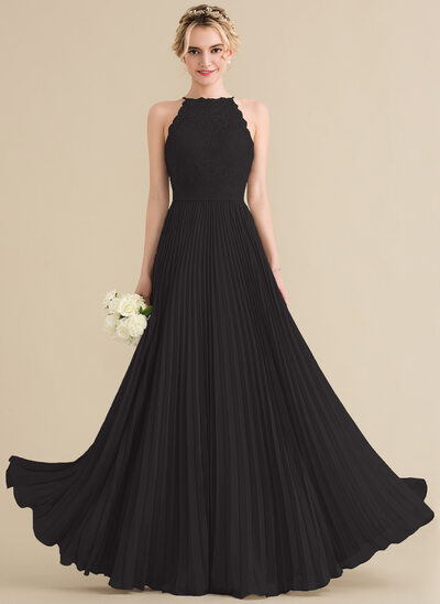 A-Line/Princess Scoop Neck Floor-Length Chiffon Lace Prom Dresses With Pleated