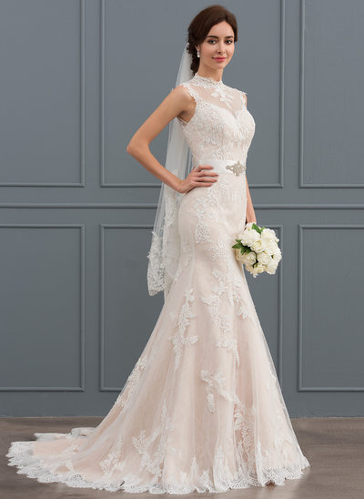Trompete/Meerjungfrau-Linie High Neck Sweep/Pinsel zug Tüll Lace Brautkleid mit Perlstickerei