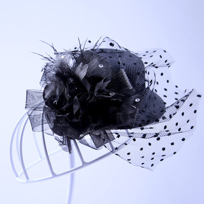 Ladies Elegant Tulle Flowers & Feathers