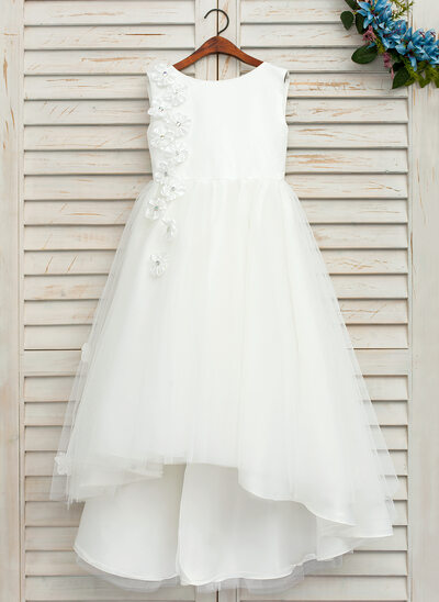 A-Line/Princess Asymmetrical Flower Girl Dress - Satin/Tulle Sleeveless Scoop Neck With Bow(s)