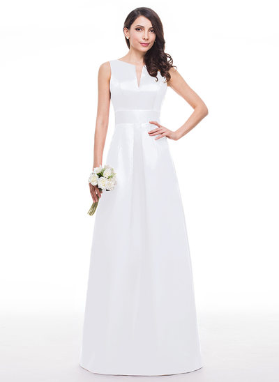 A-Line V-neck Floor-Length Satin Prom Dresses With Ruffle