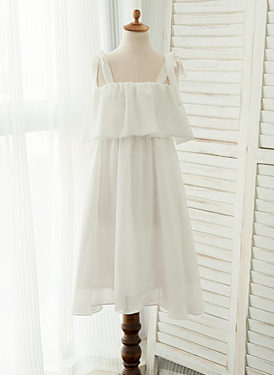 A-Line/Princess Tea-length Flower Girl Dress - Chiffon Sleeveless Straps