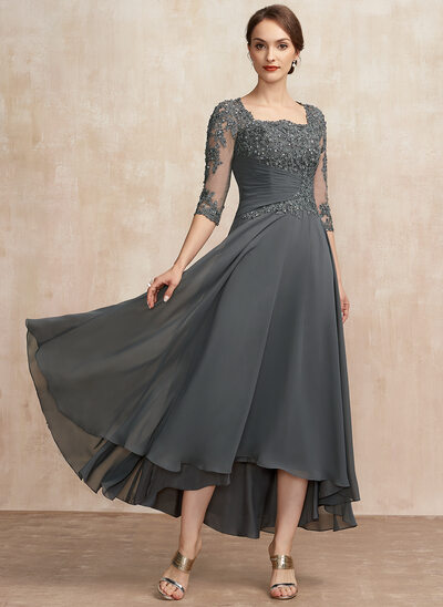 A-Line Square Neckline Asymmetrical Chiffon Lace Cocktail Dress With Ruffle Sequins