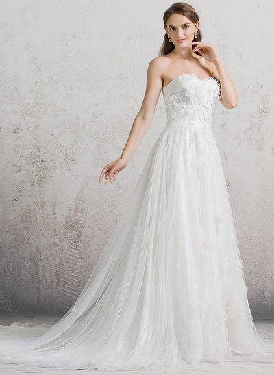 A-Line/Princess Sweetheart Cathedral Train Tulle Wedding Dress With Flower(s) Sequins