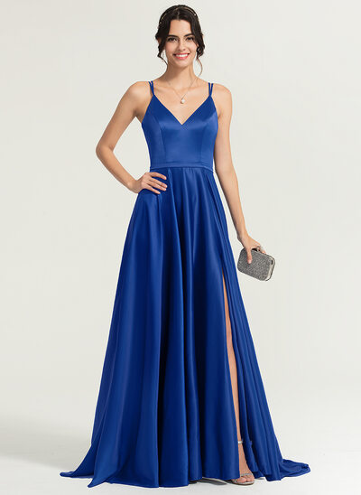 A-Line/Princess V-neck Sweep Train Satin Prom Dresses With Split Front