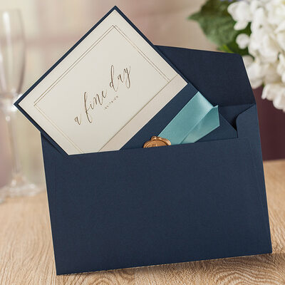 Personalized Top Fold Invitation Cards With Ribbons