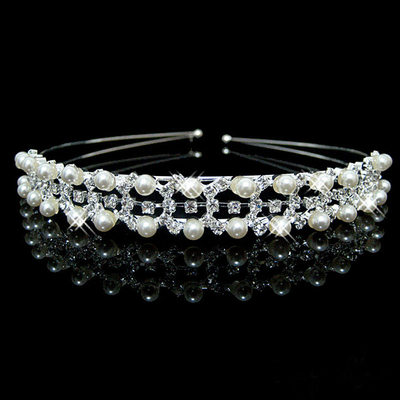 Ladies Beautiful Alloy Tiaras/Headbands With Rhinestone/Venetian Pearl (Sold in single piece)