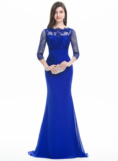 Trumpet/Mermaid Scoop Neck Sweep Train Chiffon Prom Dresses With Ruffle