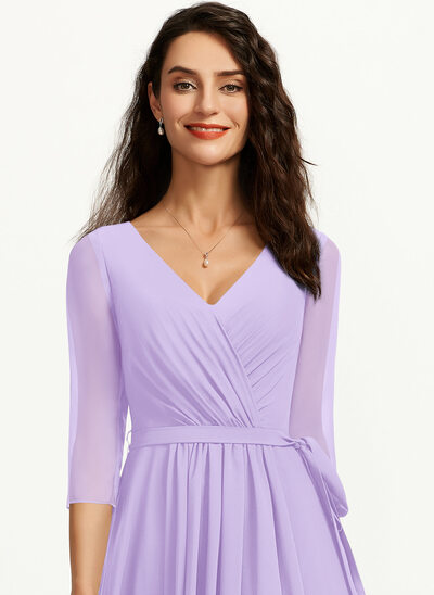 A-Line V-neck Asymmetrical Cocktail Dress With Pleated