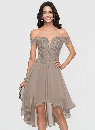 A-Line Off-the-Shoulder Asymmetrical Chiffon Cocktail Dress With Lace Beading