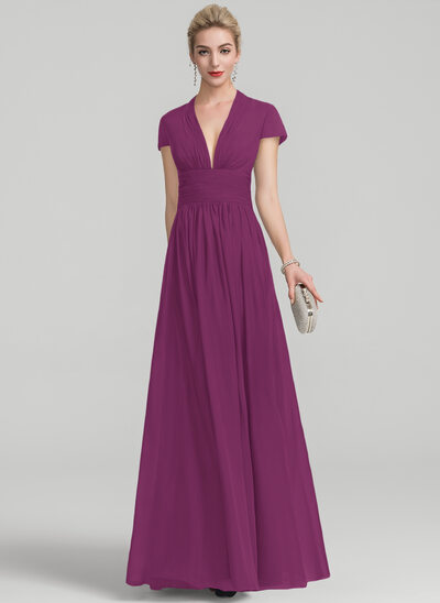 A-Line/Princess V-neck Floor-Length Chiffon Evening Dress With Ruffle