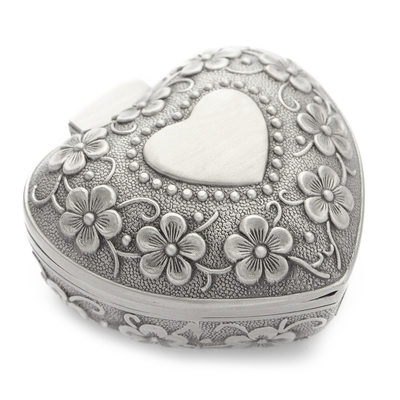 Heart Shaped Alloy/Silver Plated Ladies' Jewelry Box