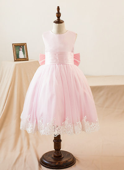 Princesový Po kolena Flower Girl Dress - Satén Bez rukávů Scoop Neck S Nášivky/Luk