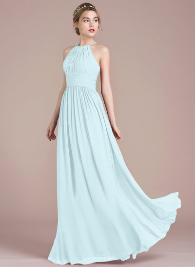 A Line Princess Scoop Neck Floor Length Chiffon Bridesmaid Dress With Ruffle