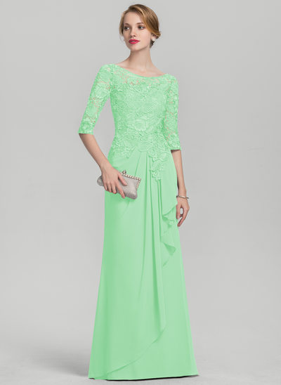 A-Line/Princess Scoop Neck Floor-Length Chiffon Lace Mother of the Bride Dress With Cascading Ruffles
