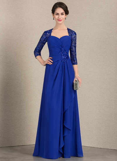 A-Line/Princess Sweetheart Floor-Length Chiffon Sequined Evening Dress With Cascading Ruffles