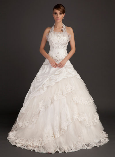 Halter wedding dresses affordable under 100 jjshouse ball gown halter chapel train taffeta wedding dress with lace beading junglespirit Choice Image