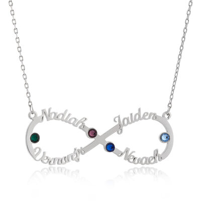 Custom Silver Signature Four Infinity Name Necklace With Birthstone - Birthday Gifts Mother's Day Gifts