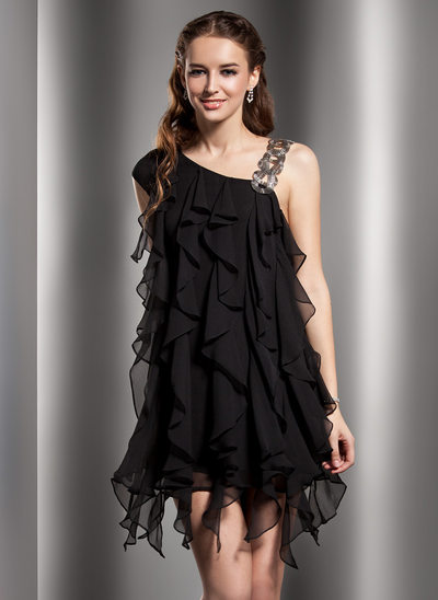 Sheath/Column V-neck Short/Mini Chiffon Cocktail Dress With Beading Cascading Ruffles