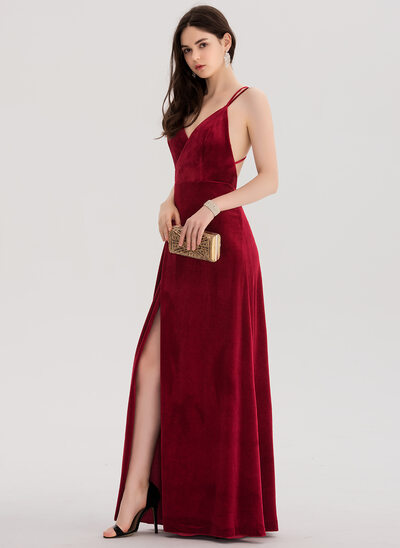 A-Line V-neck Floor-Length Velvet Prom Dresses With Split Front