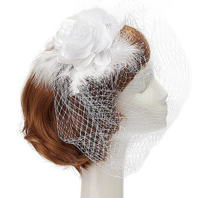 Magnifique Soie artificielle/Fil net/Feather Bijou de front / frontal