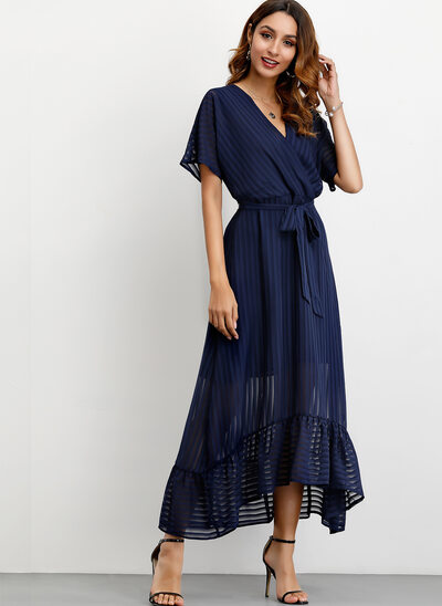 A-Line V-neck Ankle-Length Cocktail Dress With Bow(s)