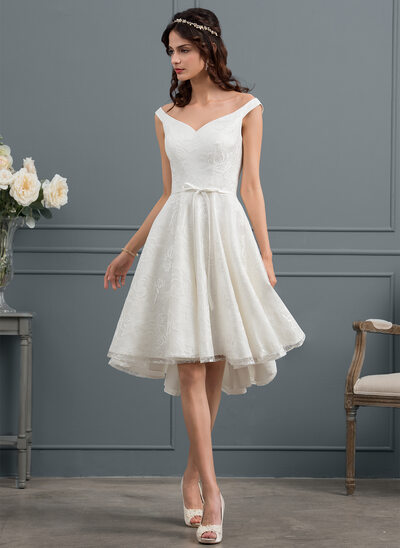 A-Line Off-the-Shoulder Asymmetrical Lace Wedding Dress With Bow(s)