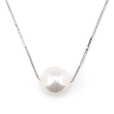 Silver Circle Pearl Pendant Necklace - Valentines Gifts
