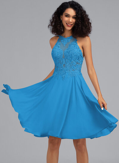 A-Line Scoop Neck Knee-Length Chiffon Prom Dresses With Sequins