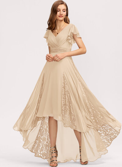 A-Line V-neck Asymmetrical Chiffon Evening Dress With Ruffle Lace